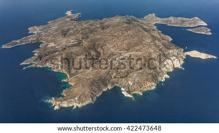 Island of Donousa, Cyclades, Greece, aerial view - stock photo