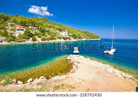 Island of Dugi otok coastline view, Dalmatia, Croatia - stock photo