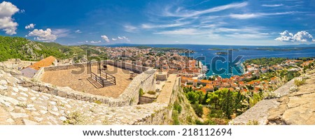 Island of Hvar and Paklinski islands panoramic aerial view from Fortica fortress, Dalmatia, Croatia - stock photo