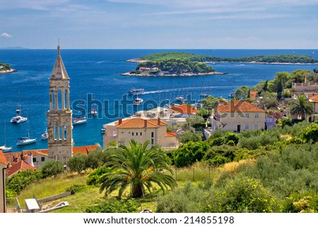 Island of Hvar nature and architecture, with Paklinski islands background, Dalmatia, Croatia - stock photo