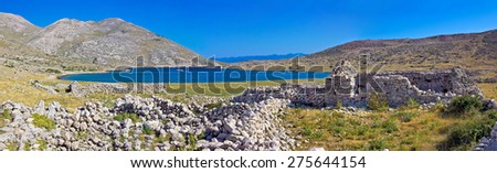 Island of Krk yachting bay panorama with historic stone ruins, Mala luka, Croatia - stock photo