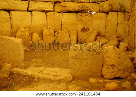 ISLAND OF MALTA ,EUROPE - NOVEMBER 11, 2014 .Hagar Qim - megalithic temple complex found on the Mediterranean Island of Malta, dating from 3600-3200 BC, included in UNESCO Heritage Site.
