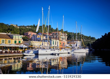 island of Paxos. Greece. yacht in the port