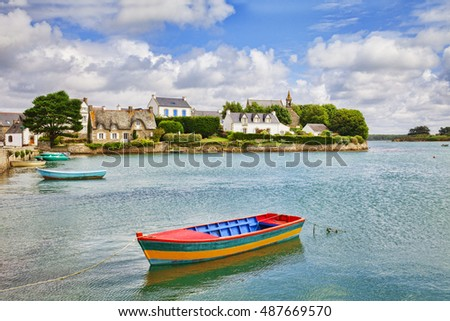 Island of Saint Cado on the River Etel, Brittany,France, on a lovely summer day.