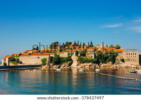 Island of Sveti Stefan. Panoramic shot