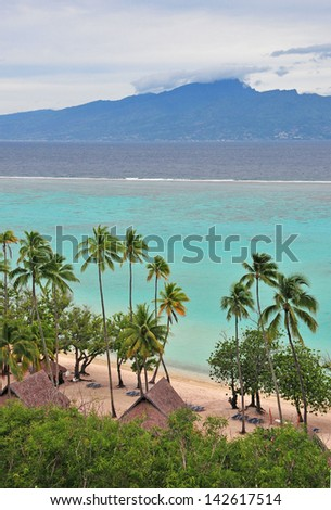 Island of Tahiti as viewed from Moorea - stock photo