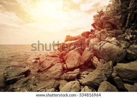 Island of tropical sea and ocean in Thailand. Vintage filter. - stock photo