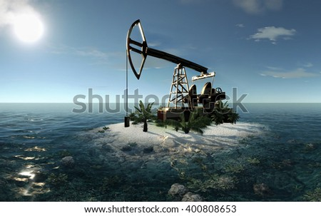 Island Oil Pump 3D illustration