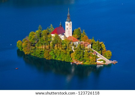 Island on Lake Bled in Slovenia, with the  Church of the Assumption - stock photo