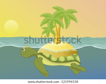 Island on the back of a sea turtle, swimming at sunset. Vector version is in my portfolio. - stock photo