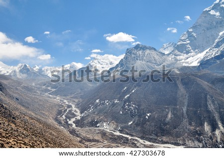 Island Peak and Makalu summits. Himalayas mountain panorama - Sagarmatha National Park, Nepal.