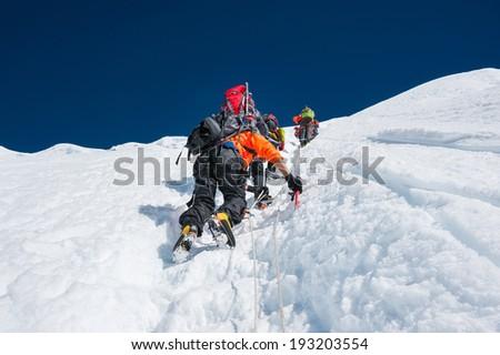 Island peak( Imja Tse) climbing, Everest region, Nepal - stock photo