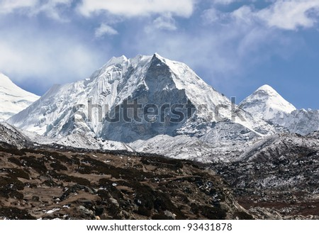 Island peak (6189 m) in district Mt. Everest - Nepal, Himalayas - stock photo