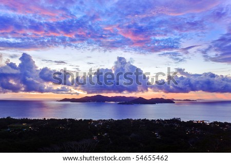Island Praslin at sunset - nature background