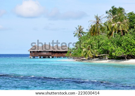 Island Resort in Maldives. - stock photo
