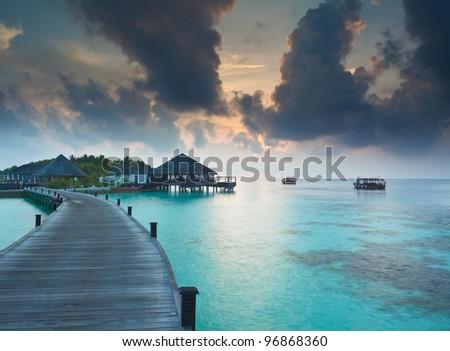 Island resort in the Maldives - stock photo