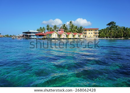 Island resort with cabins overwater, Caribbean, Bocas del toro, Carenero, Panama - stock photo