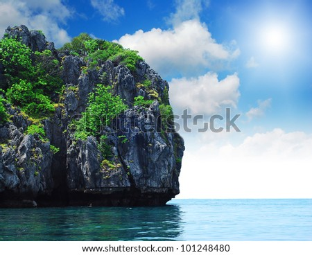 Island sea sand sun beach nature destination wallpaper and background for design at krabi in thailand