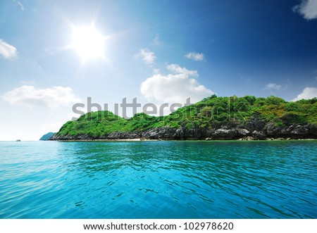 Island sea sand sun beach nature destination wallpaper and background for design at krabi in thailand - stock photo