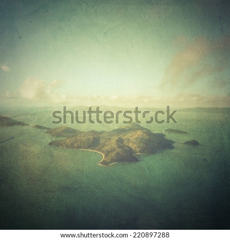 Island seen from the sky - stock photo