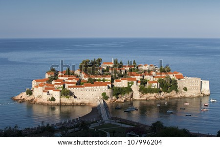 island town St.Stephan in adriatic sea, Montenegro - stock photo