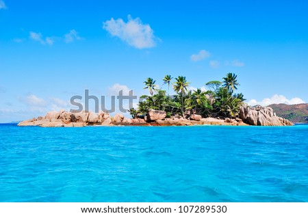 Island view from the ocean, the Seychelles