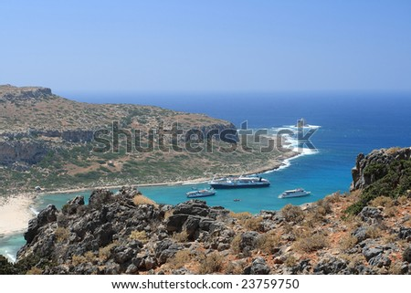 Island view with ships - stock photo