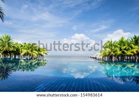 Island Villa swimming pool - stock photo