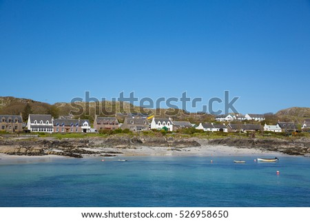 Island village on Iona Scotland uk Inner Hebrides off the Isle of Mull west coast of Scotland a popular tourist destination known for the abbey
