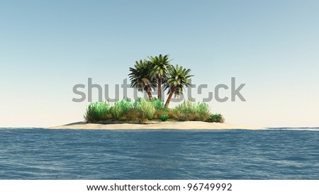 Island with palm trees. Clear the sky. 3d rendering - stock photo