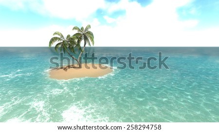 Island with palm trees on the background of the ocean. 3 Raster - stock photo
