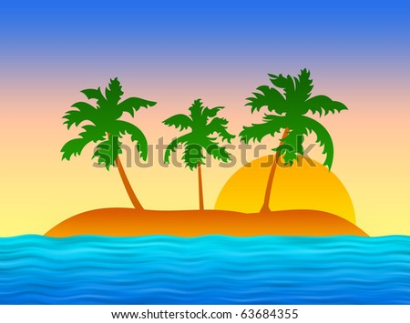 Island with palms in blue ocean (evening)