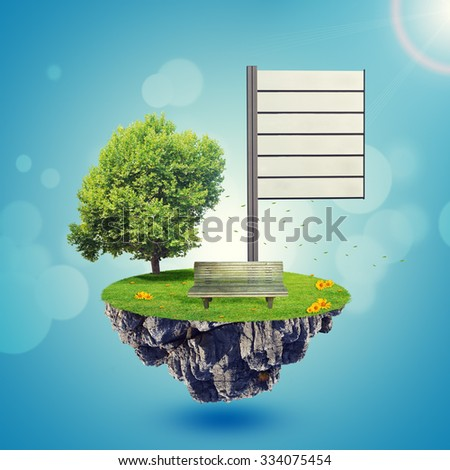 Island with tree and bench on blue sky background