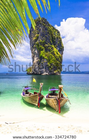 islands hopping in Thailand, Krabi province - stock photo