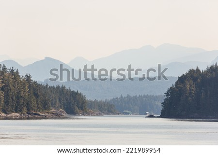 Islands in Johnstone strait on a misty morning