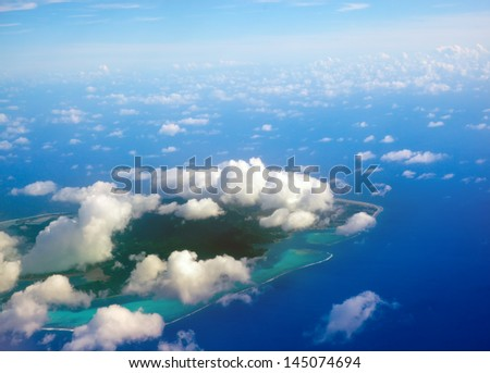 Islands in the ocean. Aerial view. - stock photo