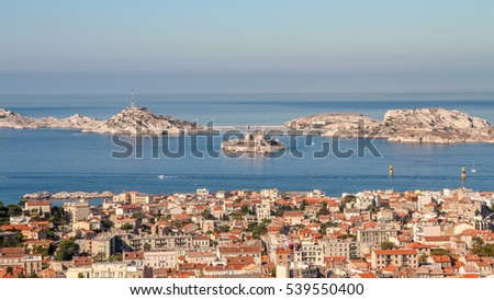 Isle d'If and the bay of Marseille in southern France from the observation platform
