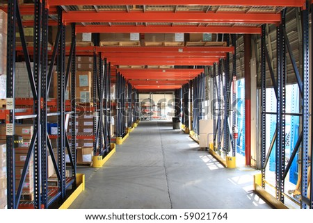 isle in dry dock warehouse - stock photo