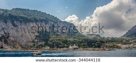Isle of Capri, Italy - 10 September 2014: the island in the Tyrrhenian Sea, is part of the province of Naples in the Campania region. A popular seaside resort since the days of the Roman Republic.