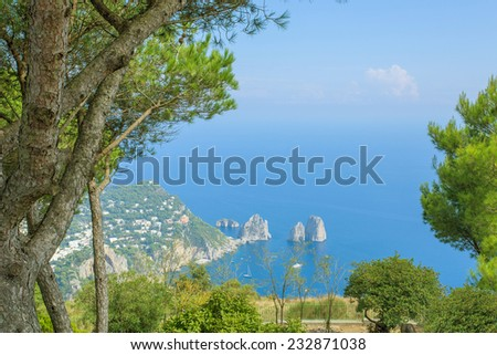 Isle of Capri, Italy, the view from  - stock photo