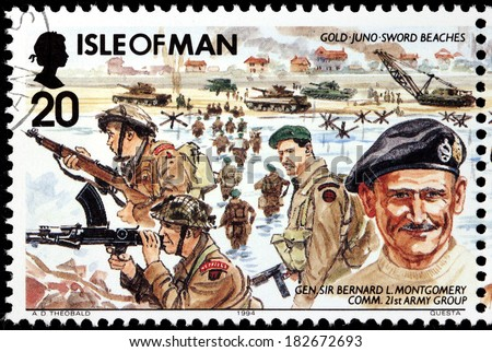 ISLE OF MAN - CIRCA 1994: A stamp printed by GREAT BRITAIN shows image portrait of  British General Sir Bernard Law Montgomery - commander of the 21st Army Group, circa 1994