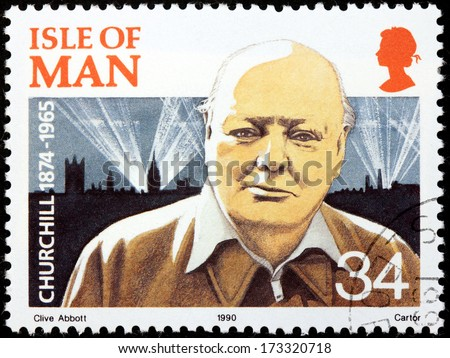 ISLE OF MAN - CIRCA 1990: a stamp printed by GREAT BRITAIN shows image portrait of famous British statesman, Prime Minister of the United Kingdom Sir Winston Churchill, circa 1990