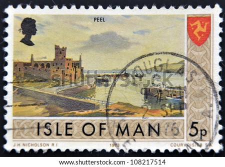 ISLE OF MAN - CIRCA 1973: A stamp printed in Isle of Man shows Peel, circa 1973