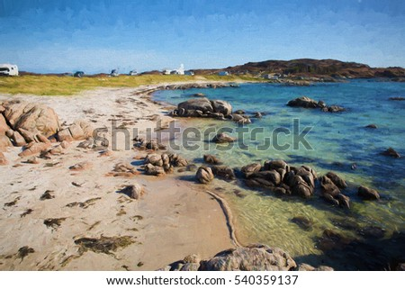 Isle of Mull Scotland uk with clear blue sea, beautiful beach and campervans and motorhomes.  Fidden near Iona illustration like oil painting.