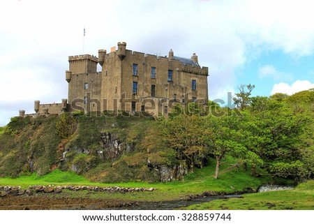 ISLE OF SKYE, SCOTLAND - MAY 28,  2013:  Dunvegan Castle on the isle of Skye, Scotland.