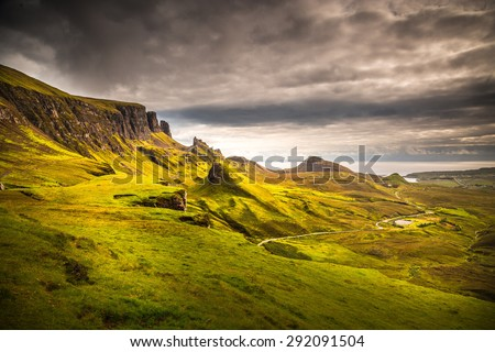 Isle of Skye, Scotland. Quiraing during a very cloudy day. - stock photo