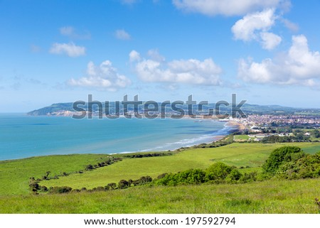 Isle of Wight coast view towards Sandown and Shanklin from Culver Down - stock photo
