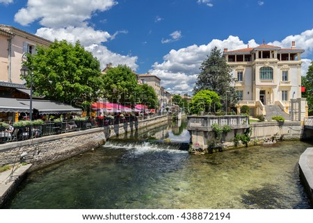 Isle sur le Sorgue in the Luberon Provence - stock photo