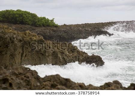 ISLOTE SANCHO - wild beach in Mauritius - stock photo