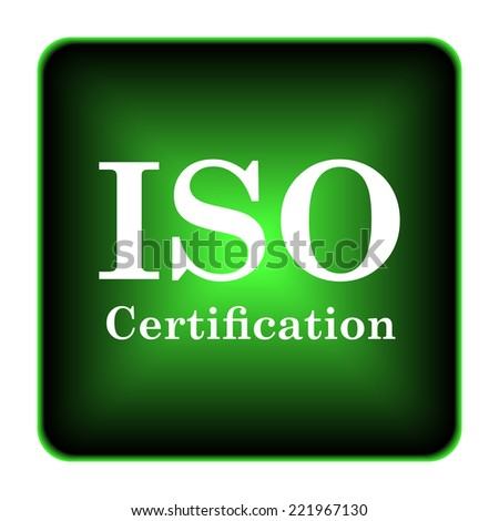 ISO certification icon. Internet button on white background.